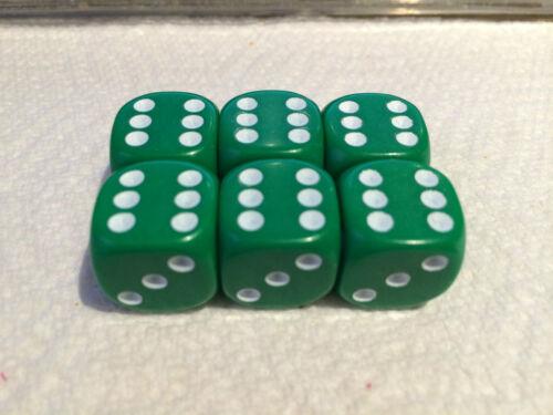 Wargaming Green Red Blue White Black 6x D6 Dice 16mm  RPG Yahtzee