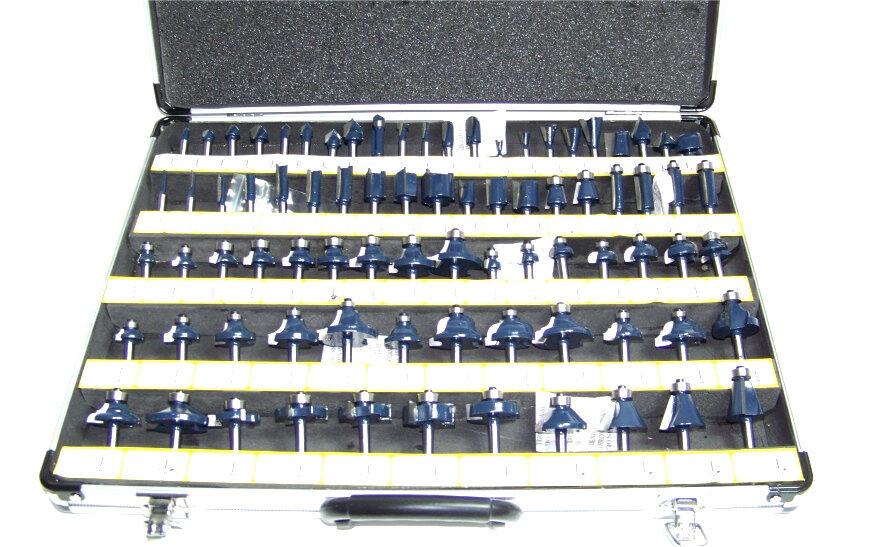 80 pc 1 4  Shank Tungsten Carbide Router Bit set Woodworking tool kit CMT