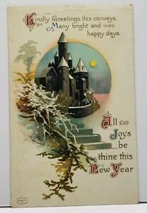Clapsaddle-Kind-New-Year-Greeting-Embossed-Castle-Gilded-Accent-1913-Postcard-F4