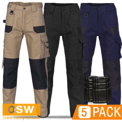 5 X MENS AIR FLOW WORK TROUSERS TRADIE BUILDER COTTON CARGO PANTS 10POCKETS