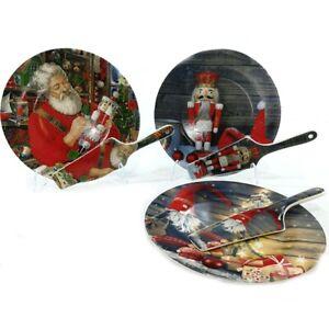 Idee Regalo Dolci Natale.Piatto Porta Panettone Dolci Di Natale Con Paletta Decorazioni Casa Idea Regalo Ebay