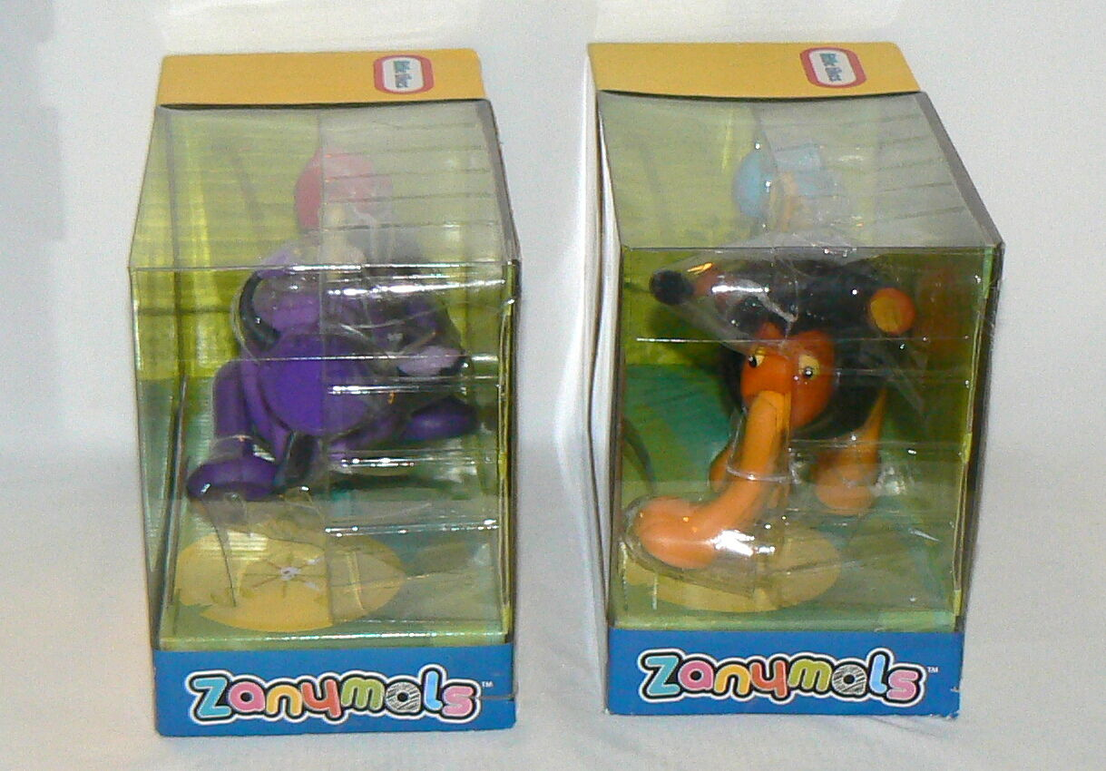 LITTLE TIKES ZANYMALS LOT OF 2 RHINO RHINOCEROS AND LION WILD CAT TOY FIGURES