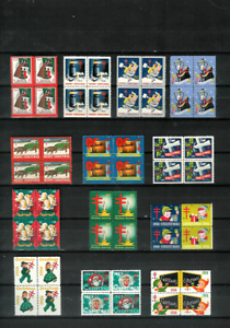 U-S-CHRISTMAS-SEALS-13-Diff-Blocks-of-4-MNH-F-VF-1938-1958-All-Scott-Listed
