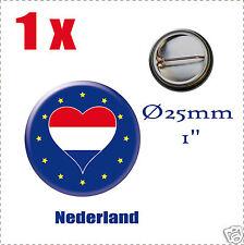 Badge Ø25mm Pays de l'europe des 28, drapeau en forme de coeur LT NL Nederland