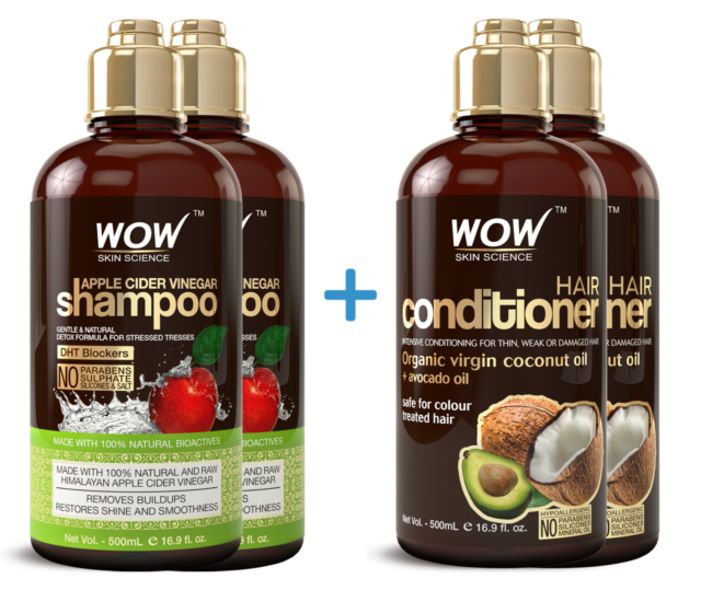 WOW Apple Cider Vinegar Shampoo + WOW Coconut Avocado Hair Conditioner - 2 Pack