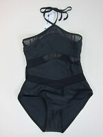 Boohoo Chile Mesh Detail Halterneck Swimsuit - Womens Us 6 - Black -