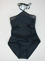 Boohoo Chile Mesh Detail Halterneck Swimsuit - Womens Us 6 - Black -