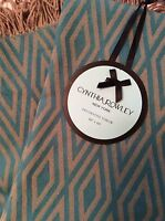 Cynthia Rowley Throw Blanket Turquoise Blue Tan 4 Fringe Geometric Design
