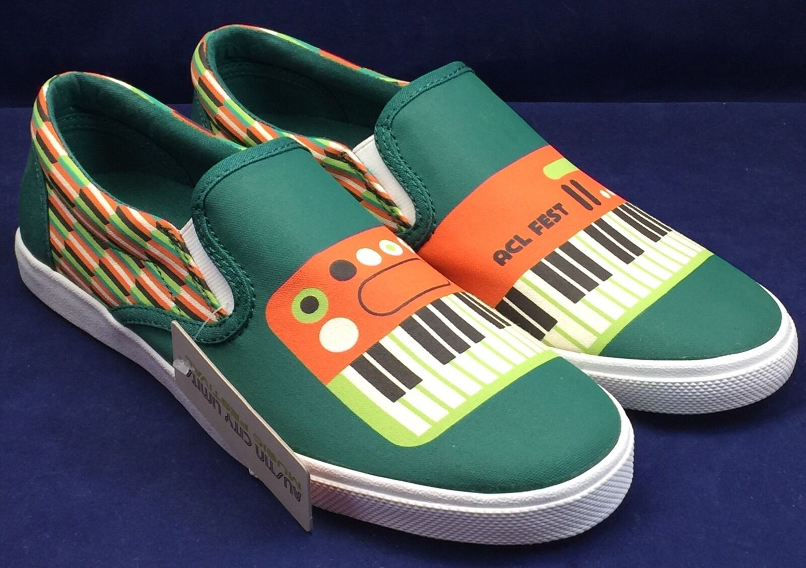 Bucketfeet KEYBOARD Austin City Limits chaussures Low Canvas Slip On femmes Taille 5