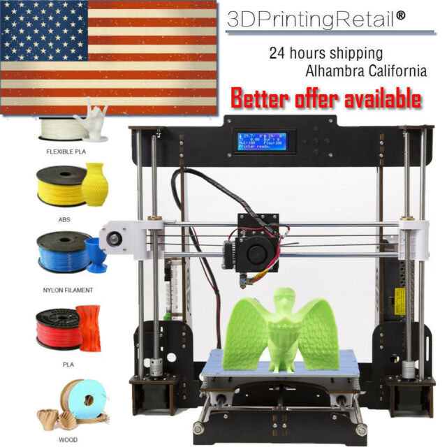 Upgraded Anet A8 DIY 3D Printer MK8 Extruder Nozzle Acrylic Frame+8GB SD Card US