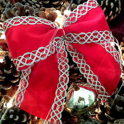 Wired Red Velvet Christmas Ribbon with a Gold Brocade edge Xmas Tree,Wreath Wide