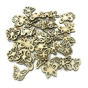 50pcs Laser Cut Wood Butterfly Embellishment Wooden Shape Craft Wedding Sell Ebay