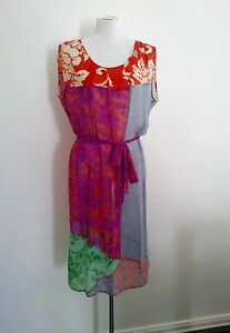 Individual-Style-Megan-Park-size-4-vibrant-silk-dress-in-excellent-condition