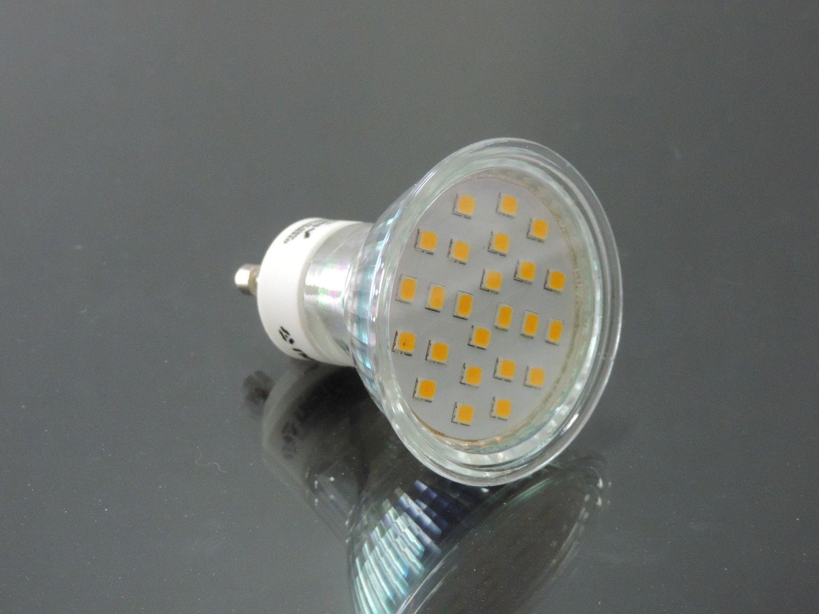 10x LED Spot superhelle GU10 Leuchtmittel warmweiss 24x2835 Schutzglas   11896