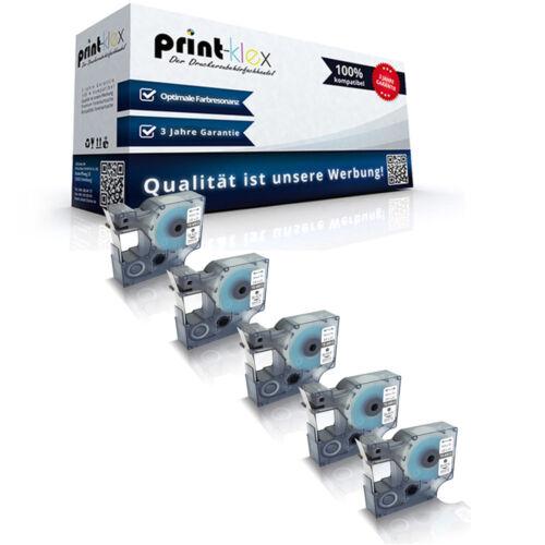 5x Ersatz Schriftbänder für Dymo 40913 9mm x 7m Kassetten Drucker Pro Serie