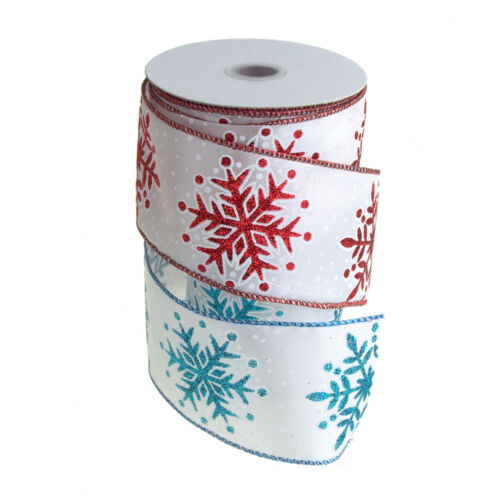Dazzling Glitter Snowflakes Wired Christmas Holiday Ribbon, 2-1/2-Inch, 10 Yards
