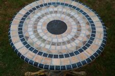 Made USA BLACK Stone Mosaic Design ROUND FITTED TABLECLOTH Patio TABLE Cover Pad