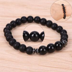 Mens Tourmaline Matte Agate Stone Protection Yoga Beaded Stretch Bracelet-c