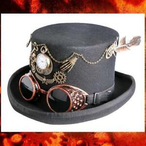 665de1966b989f STEAMPUNK VICTORIAN GOTHIC Wool Felt MAD HATTER TOP HAT with GOGGLE ...