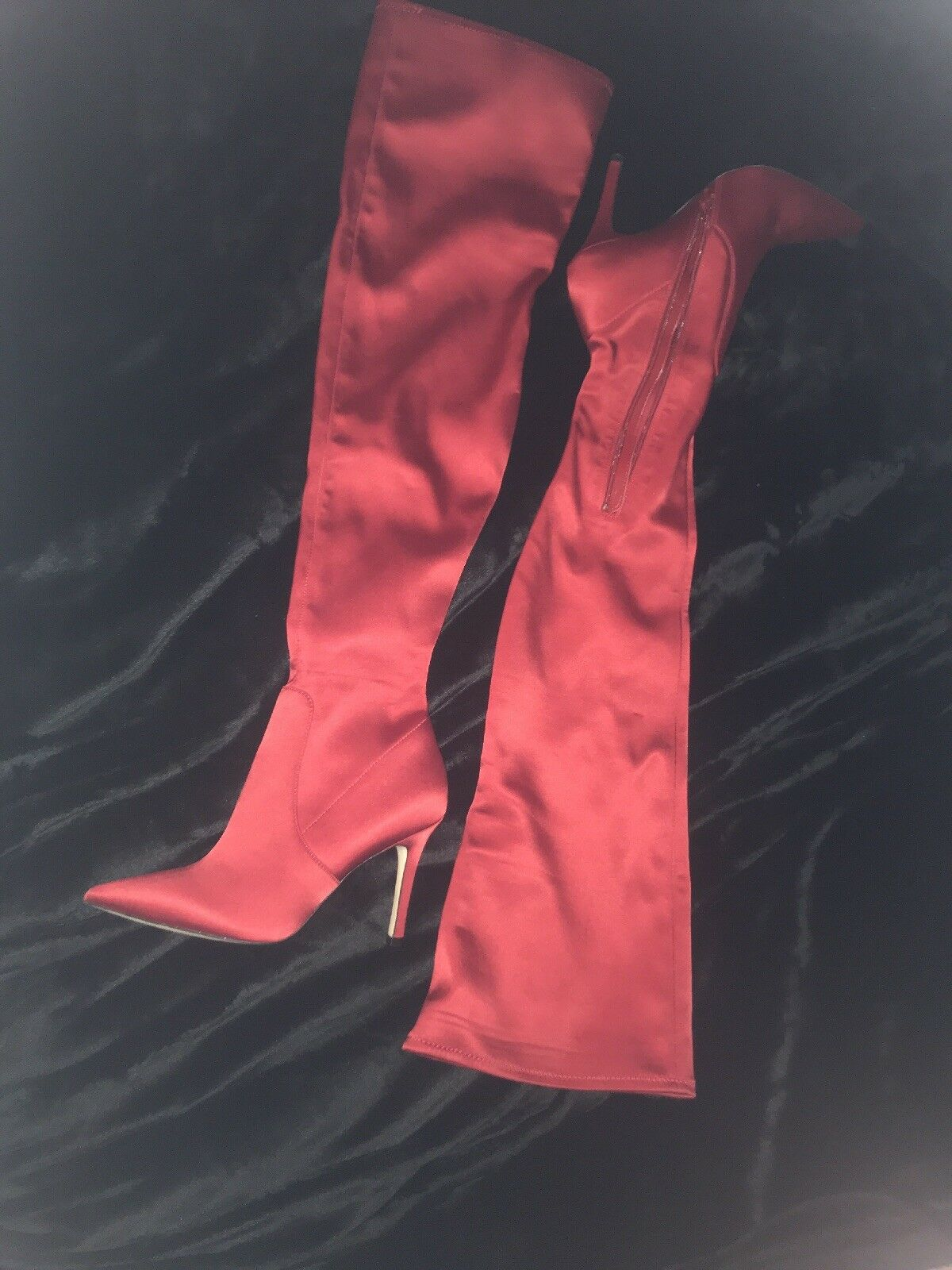 Aldo Red Satin Over The Knee Boot Sailors -64