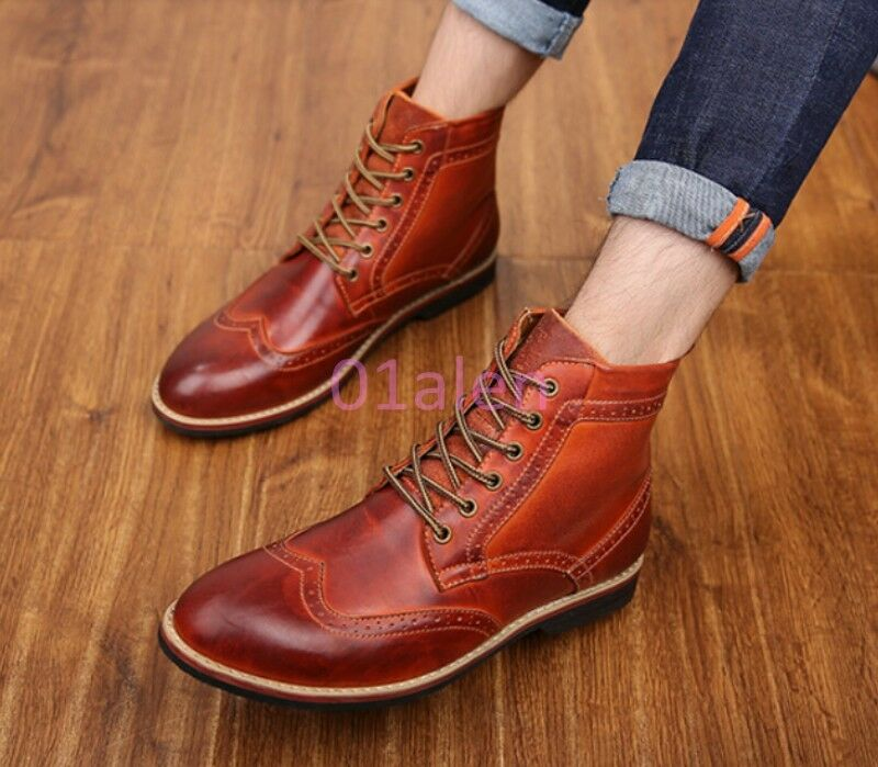 HOT Uomo Wing Tip Chukka Vintage High Top Lace Up Brogue Carved Pelle Boot NEW