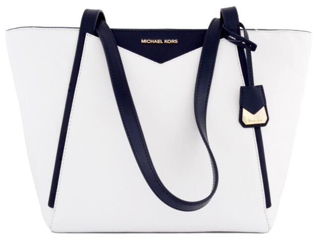 1a8d397e0d3d Michael Kors Whitney Pebbled Leather Top Zip Tote Optic White & Admiral Blue