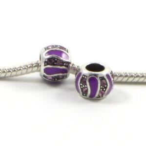 3-Beads-Purple-Enamel-Rhinestone-Silver-European-Charm-Bead-E0452