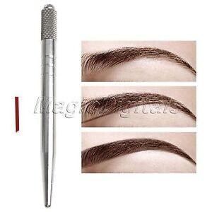 Microblading Permanent 3D Makeup Pen Eyebrow Tattoo Pen & 7 Pins Needles Kit