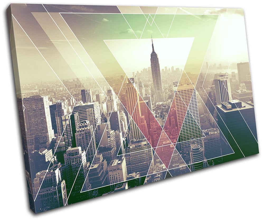 New York NYC USA USA USA Abstract Geometric City SINGLE TELA parete arte foto stampa 1b4abd