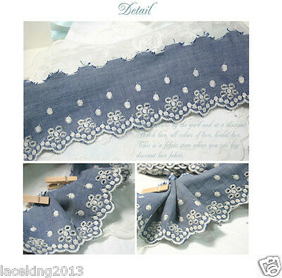"""Broderie Anglaise Eyelet Denim Blue lace trim 2.7""""(7cm) YH1383 laceking2013"""