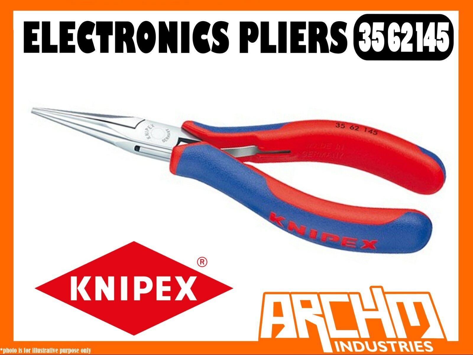 KNIPEX 3562145 - ELECTRONICS PLIERS - 145MM - BOX JOINT HALF ROUND JAWS GRIPPING