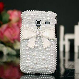 Samsung-Galaxy-ACE-Plus-S7500-Hard-Case-Handy-Schutz-Hulle-Etui-Perle-Stein-Weis