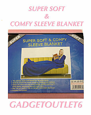 SNUGGLE SUPER SOFT COSY/COMFY BLANKET WITH SLEEVES ANDFRONTPOCKETEASYWRAPBEDROOM