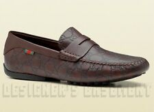 GUCCI mens 11G Brown GUCCISSIMA leather Web SAN MARINO Drivers shoes NIB Authent
