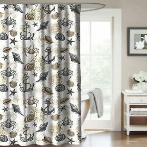La Foto Se Está Cargando Shower Curtain Nautical  Coastal Anchor Shell Gray And