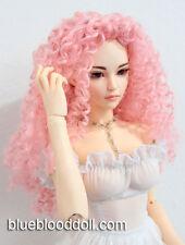"1/3 bjd 8-9"" doll head pink curly long wig dollfie Luts Iplehouse #W-JD145SM65XL"