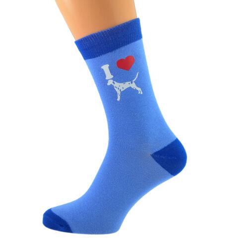 Unisex Two Tone Blue Unisex Socks I Love Dalmation Dogs UK 5-12