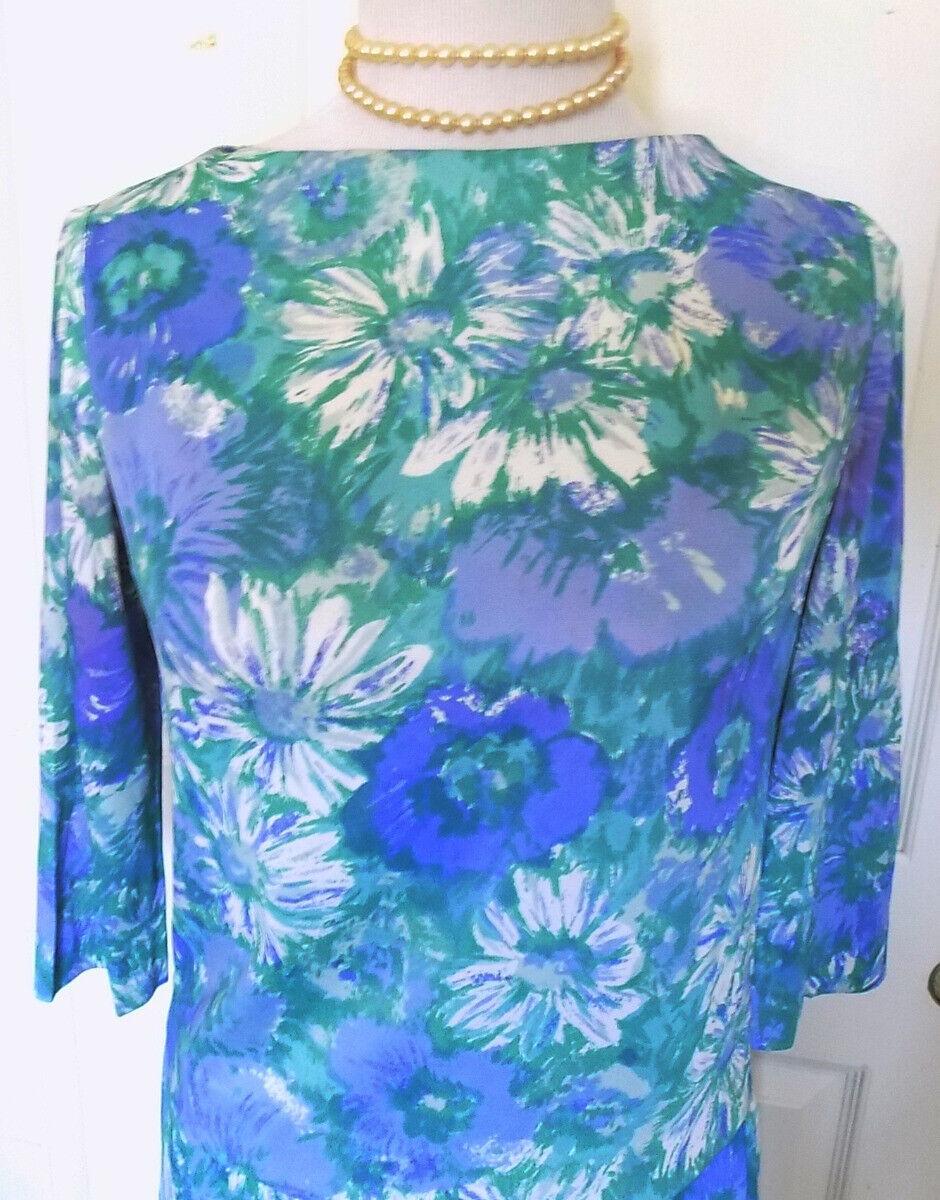 Vintage 60s Blue Floral Two Piece Skirt Set Sacon… - image 2
