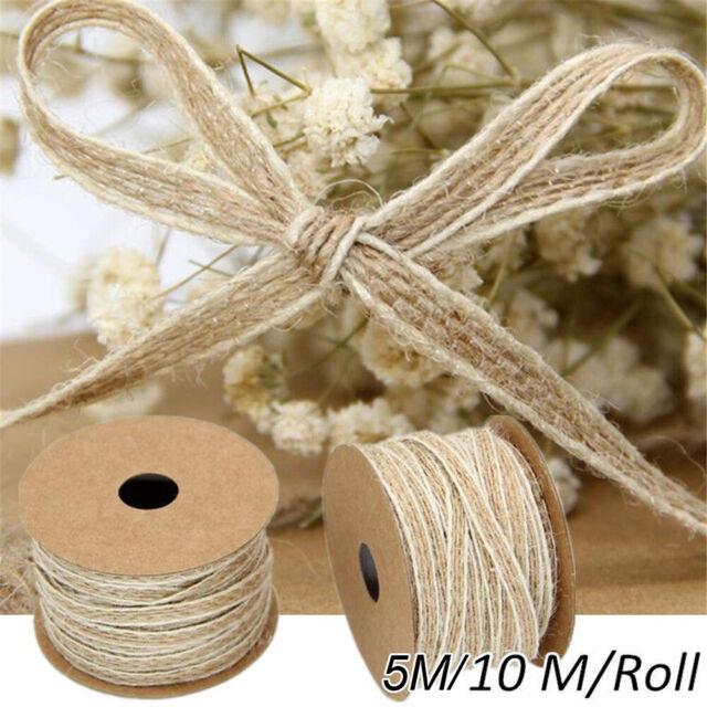 Vintage Lace Edged Ribbons Burlap Trims Tape Natural Jute Hessian Roll Rustic