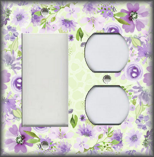 Green Lilac Purple Framed Watercolor Flowers Decor Light Switch Plate Cover