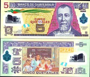 Guatemala 5 Quetzales p-122 2013 UNC Polymer Banknote
