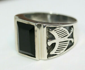 Classy-Men-039-s-6-CT-Faceted-Natural-Rectangular-Onyx-925-Silver-Eagle-Ring-Sz-12