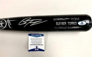 GLEYBER TORRES Autograph Signed Game-Used Bat (NOT CRACKED) ~ Beckett BAS COA