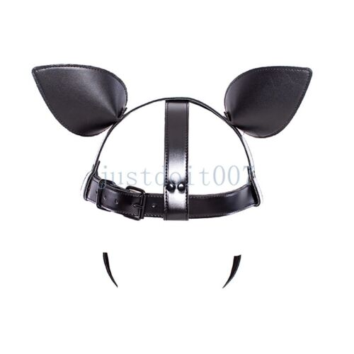 Microfiber Leather Dog Puppy Red Tongue Roleplay Hood Cosplay Mask Head Harness