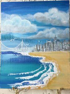 Original-Acrylic-Painting-8-x10-Canvas-Panel-Island-Beach-Coastal-Ocean-Art