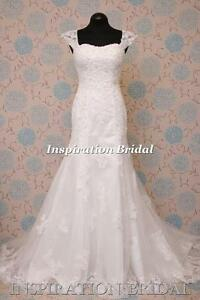 1581-White-Ivory-wedding-dress-cap-sleeves-slim-A-line-emma-maggie-new-Uk-seller