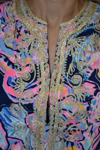 $228 New Lilly Pulitzer CARLOTTA STRETCH SHIFT DRESS Nauti Navy Boho Bateau 4 8