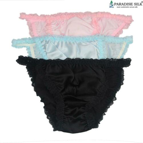 Women/'s Pure Silk Lace String Bikinis Panties Lot 3 pairs in One Pack