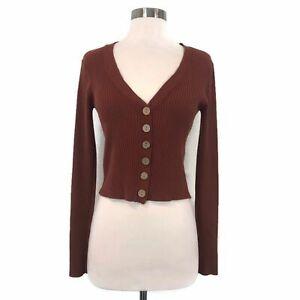LUNA-IVY-Women-039-s-Rust-Orange-Ribbed-Cropped-Long-Sleeve-Cardigan-Small