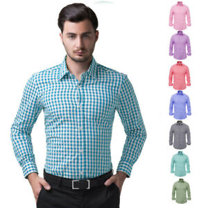 Men-039-s-Stylish-Slim-Fit-Long-Sleeve-Small-Grid-Shirt-Tops-Buttons-Front-Retro-New